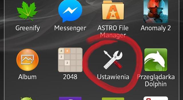 Włącz transmisję danych lub Wi - Fi, a następnie wybierz ikonę USTAWIENIA